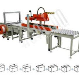 Автоматическая упаковочная линия для заклейки и обвязки коробов XFK-2